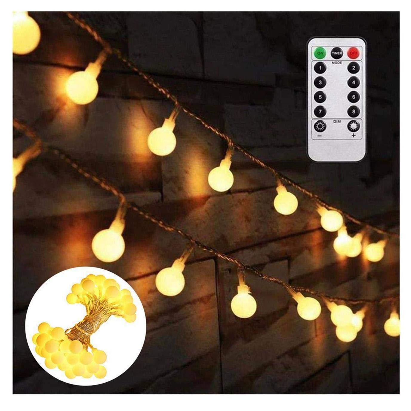 globe string lights battery powered bedroom 164 feet fairy starry led light with remote 8 lighting modes waterproof dimmable for tapestry indoor