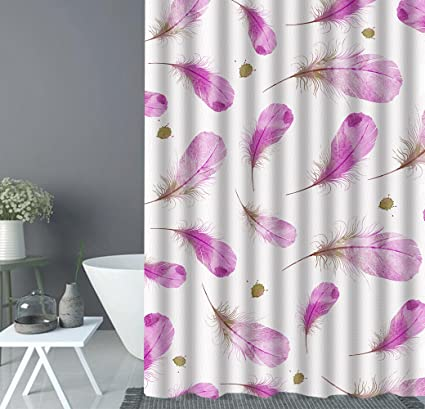XUNDecor Cartoon Purple Feather Splash Shower Curtain Liner Mildew Resistant Waterproof Bath Polyester 3D Effect