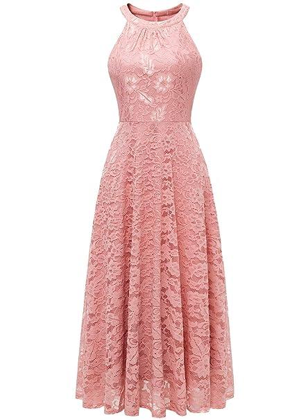 newest collection 55715 2e8e1 MUADRESS Damen Abendkleid Maxi Spitzenkleid Lang Schulterfrei Ärmellos  Floral
