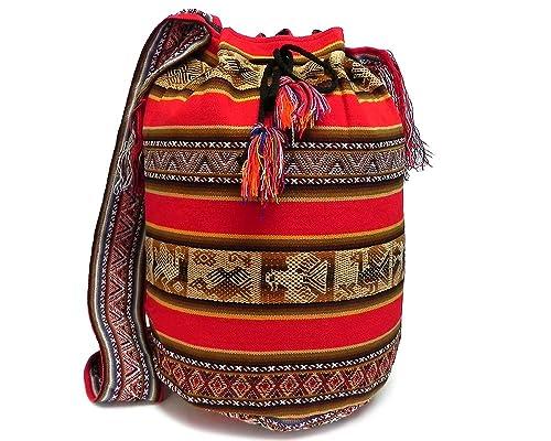 Amazon.com: Grande peruano Tribal cross-body bolsa de cubeta ...