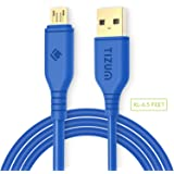 Tizum 6.5ft long Micro USB Cable Gold Plated Quick Charge, x-Strong, Data Cable 2.4 Amp (2m- Blue)