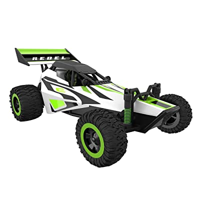 Force1 Fast Remote Control Car - Rebel 1/32 Scale RC Buggy with Ramp and Cones for All Terrain RC Cars Rechargeable Stunt RC Cars for Kids and Adults: Toys & Games