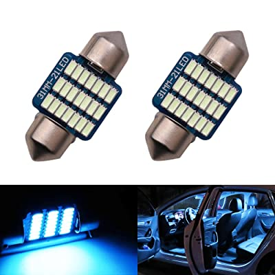 LED 31mm DE3175 DE3021 DE3022 Bulb Dome Light Ice Blue 8000K 3014 SMD for Cars Map License Plate Trunk Interior Lights Lamp Replacement Festoon Extremely Bright 12V 3W 1 Year Warranty 1.22 inch【1797】: Automotive