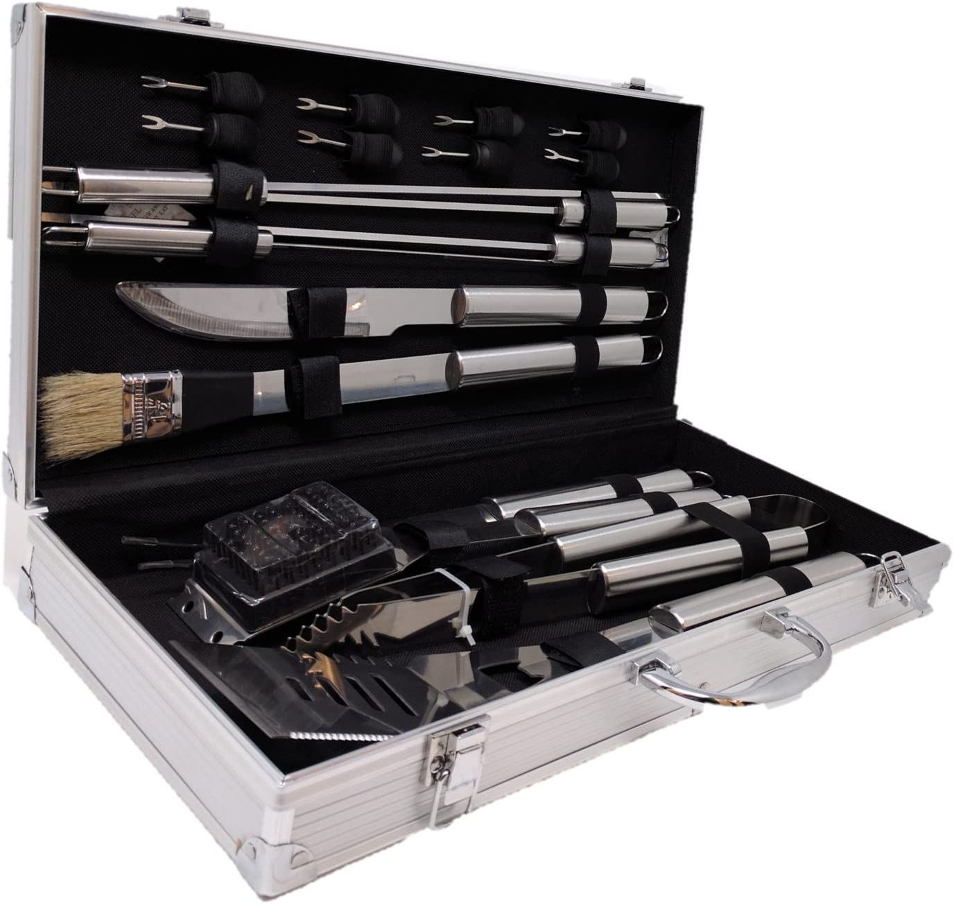 BBQ Grill Tools Set with 18 Barbecue Accessories – Stainless Steel Utensils with Aluminium Case – Complete Outdoor Grilling Kit for Dad