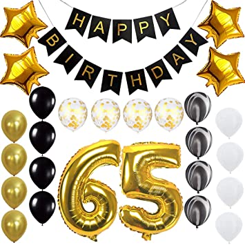 Image Unavailable Not Available For Color Happy 65th Birthday Banner Balloons