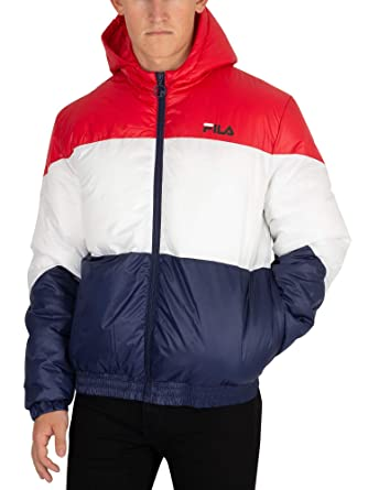 Fila Vintage Men's Tatum Striped Puffer Jacket, Multicoloured, XX ...