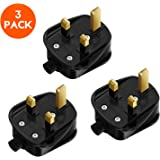 MEIKEE UK Plug, 3 Pin 13A Fused Mains Plugs, for Security Lights Floodlights Spike Light, 3 Pack