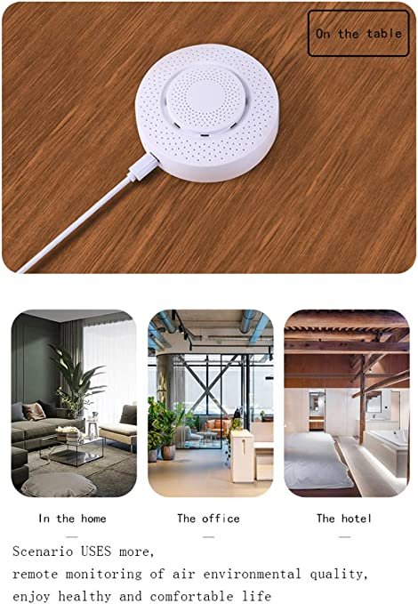 Formaldehyde//VOC//Carbon Dioxide Air Quality Monitor Temperature and Humidity Sensor Automation Alarm Detector for Home Bedroom Baby Room Tuya WiFi Smart Air Box