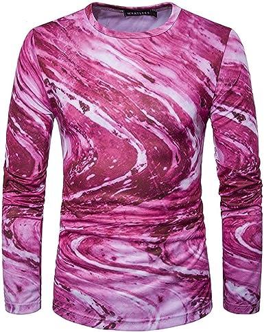 Camisa para Hombre O Cuello Los De Hombres Impresión Modernas Casual Digital 3D Camisetas De Manga Larga Primavera Otoño Moda Casual Camiseta Básica Tops: Amazon.es: Ropa y accesorios