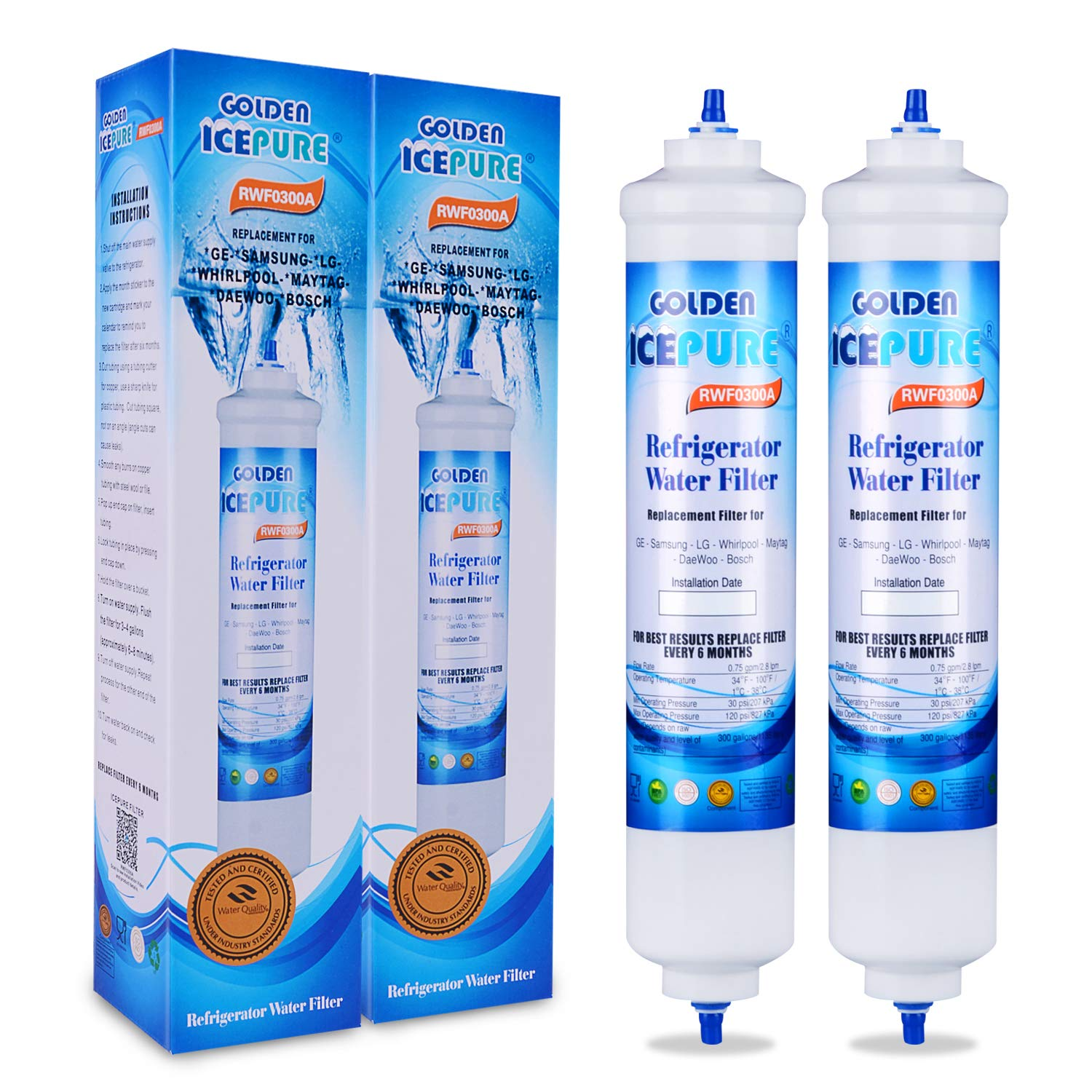 2 Pack Golden Icepure Refrigerator Water Filter Replacement for DA29-10105J, DA29-10105J HAFEX/EXP