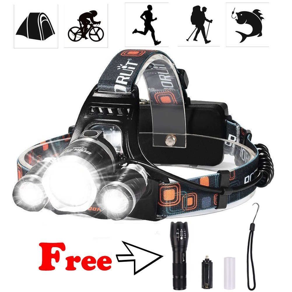 Feiuruhf LED Headlamp with Tactical Flashlight Waterproof 6000 Lumens Headlight Torch with Rechargeable Batteries for Camping, Hiking, Fishing, Working, Running,Reading by