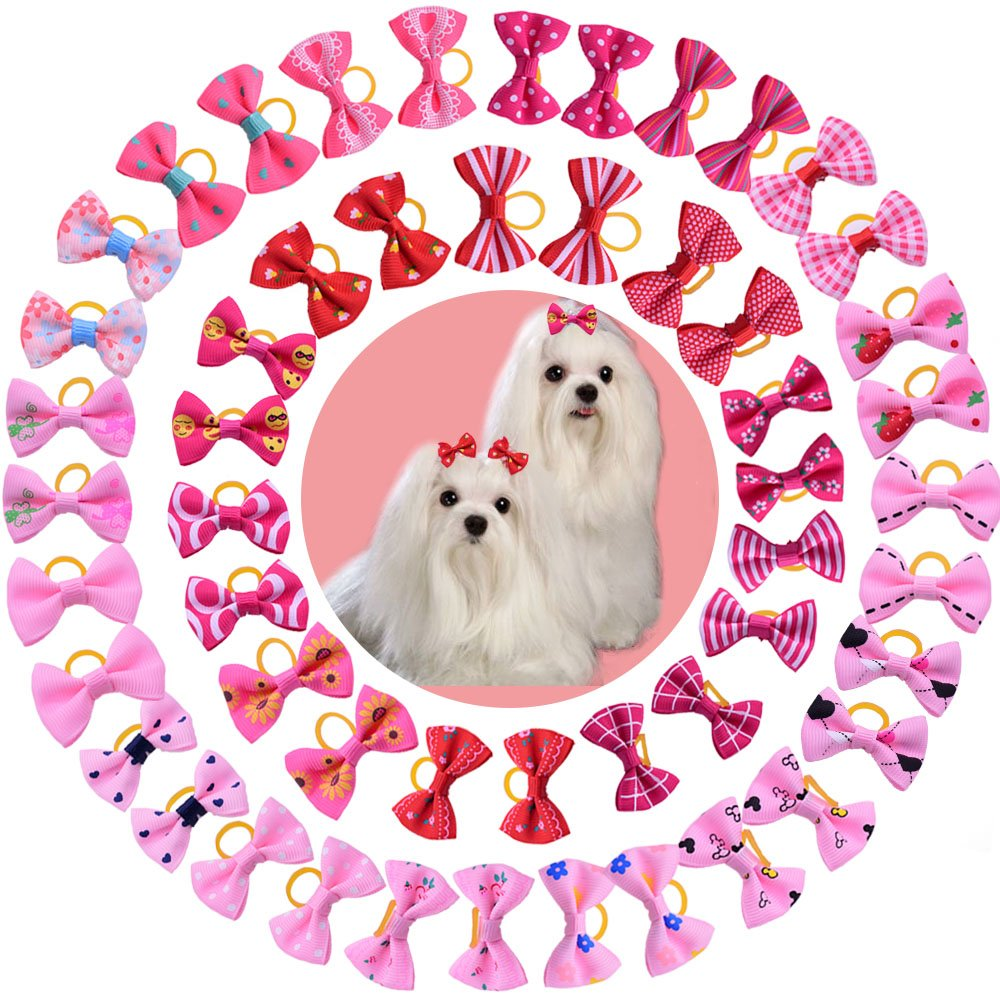 Yagopet 50pcs/25 pairs New Dog Hair Bows Red Rose Pink for Girls Dog Topknot with Rubber Bands Durable Small Bowknot Pet Grooming Products Accessories