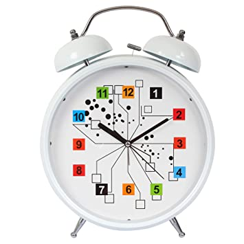 Efinito Gifts Multicolor Twin Bell Table Alarm Clock with Night Led Display - 13 Inch Alarm Clocks at amazon