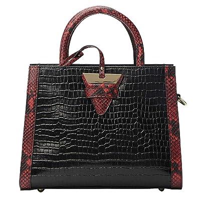 Amazon.com: qiwang bolsos de piel auténtica para mujer asa ...
