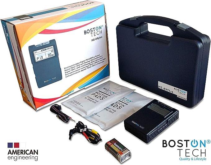 Boston Tech ME-89 plus - Electroestimulador Muscular Digital TENS - EMS digital de dos canales, 24 programas Pre-establecidos ajustables y 8 Electrodos.ideal para tratamiento muscular.: Amazon.es: Deportes y aire libre