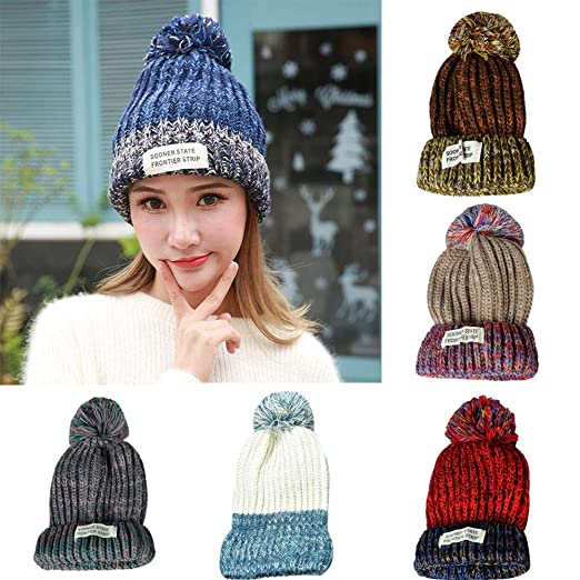 790263122d5 Outsta Hat Cap Women Ladies Fashion Warm Winter Hairball Retro Knitted  Beanie Cap Hat at Amazon Women s Clothing store