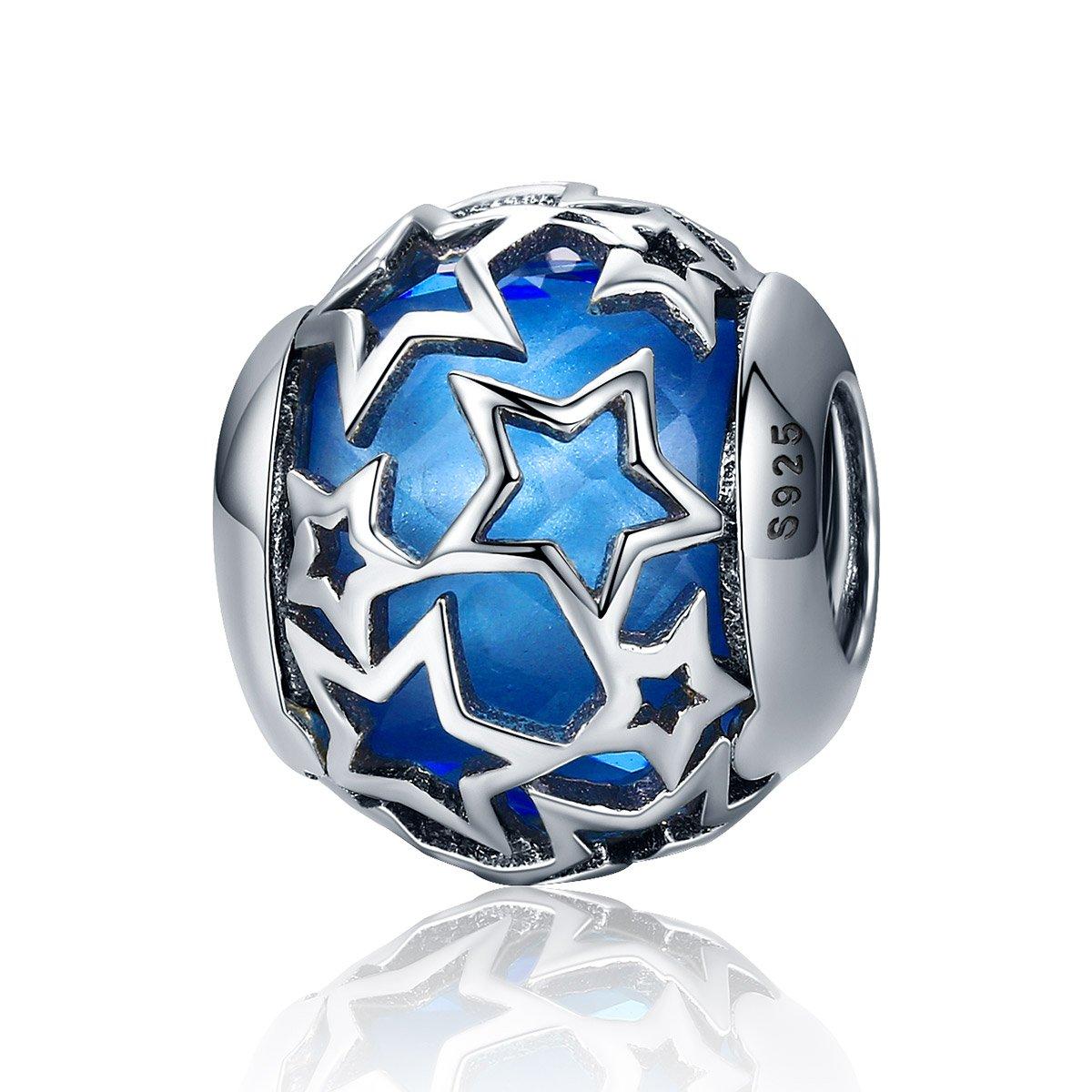 Everbling Shimmering Star Crystal 925 Sterling Silver Bead For European Charm Bracelet (Blue)