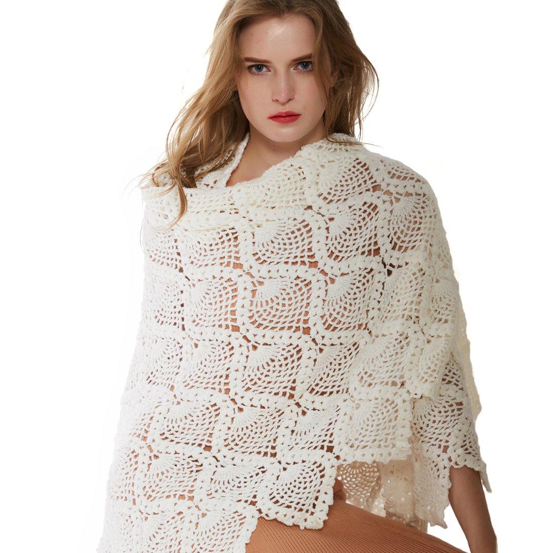 ZORJAR Wool Winter Scarf Crochet Warm Triangle Thick Fashion Scarves For Women(White)