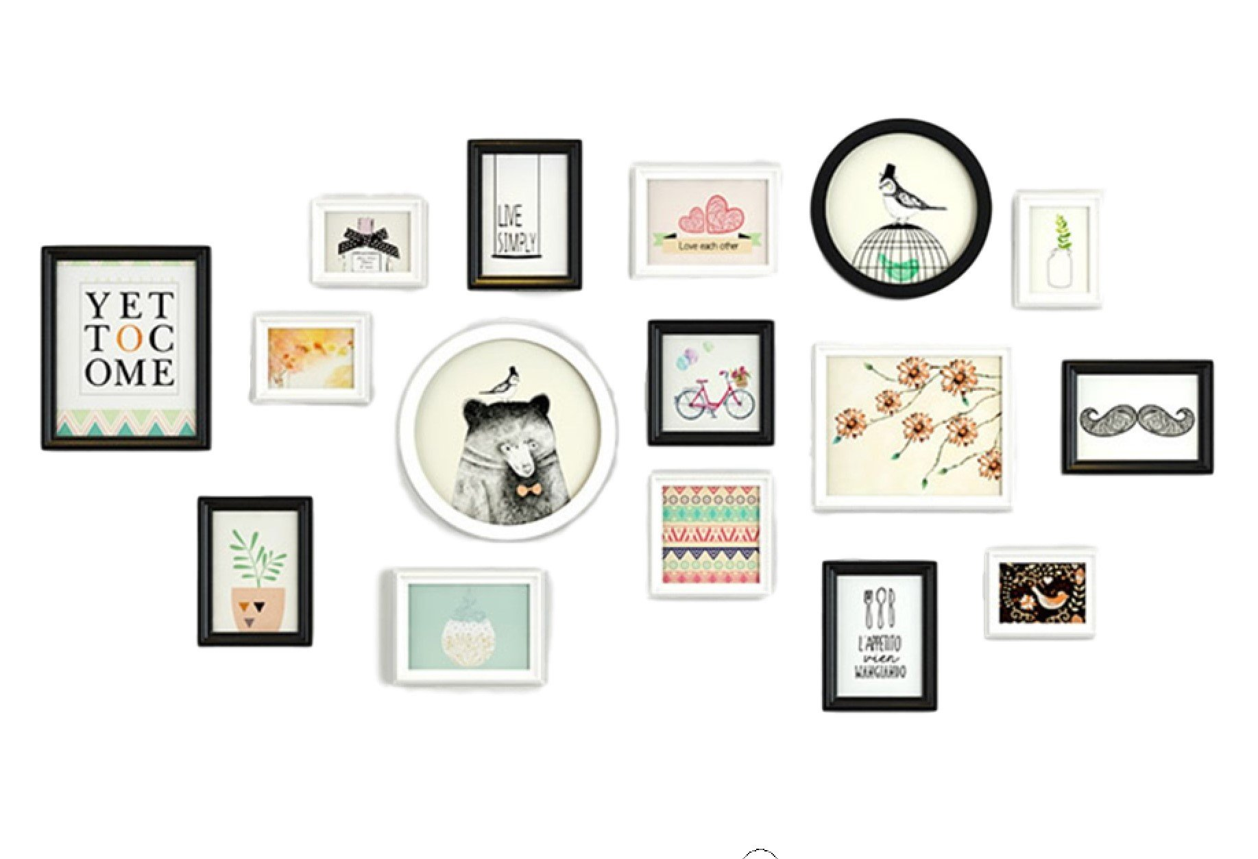 Picture Frame Gallery wall, Lovely Animal , Includes: 14 wood frames with pictures+2 canvas prints