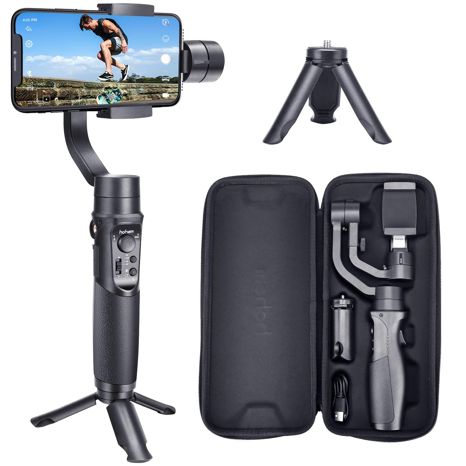 Hohem Smartphone Gimbal Stabilizer 3-Axis Handheld iPhone stabilizer for Xs Max Xr X 8 Plus 7 6 iPhone Gimbal Stabilizer iPhone gimble for Galaxy S9+ S9 S8+ S8 S7 S6 Q2 Edge (iSteady Mobile Plus) by Hohem