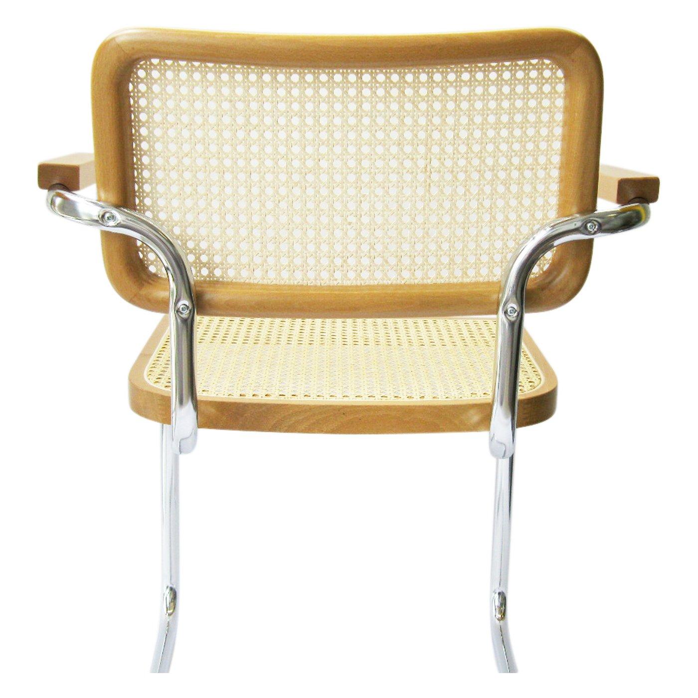 Amazon Marcel Breuer Cesca Cane Chrome Arm Chair in Honey