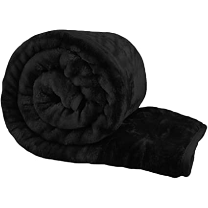 Bliss Home Living Luxury Faux Fur Mink Throw Blanket Soft Warm Thick Bed  Sofa Double King (Black 85973094b
