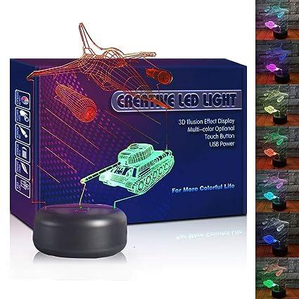 Warplane Tank LED 3D Illusion USB Night Light Creative 7 Color Optical Lamp Christmas Present