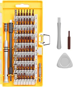 Syntus 63 in 1 Precision Screwdriver Set with 57 Bit Magnetic Screwdriver Kit Electronics Repair Tool Kit for iPhone, Tablet, Macbook, Xbox, Cellphone, PC, Game Console, Yellow