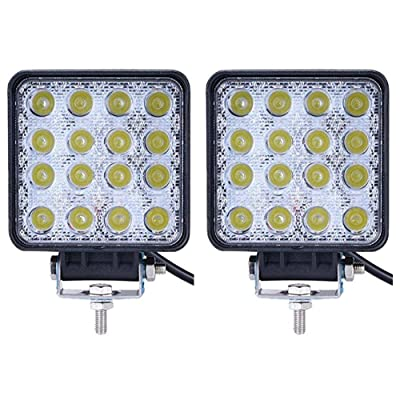 LED Light Bar Lumitek 2PCS 4inch 48W Led Work Light Square Led Lights Flood Off-road for Trucks, Off-road Vehicle, ATV, SUV, UTV, 4WD, Jeep, Boat……: Automotive