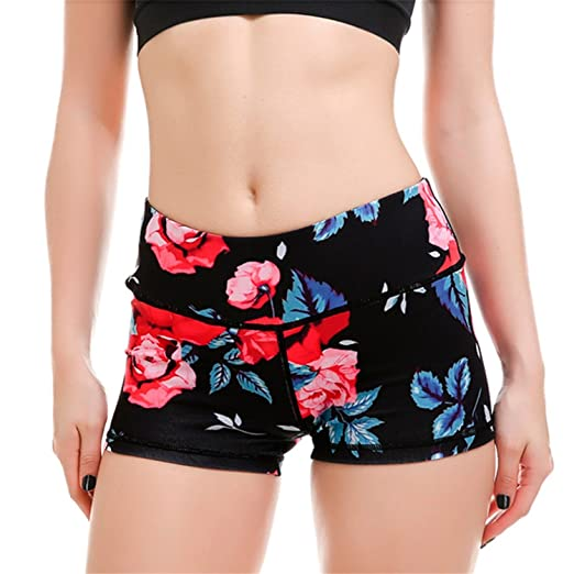 fce7edd54aa New Womens Yoga Floral Shorts S to 4XL Plus Size Black Rose Print Yoga Gym  Dance