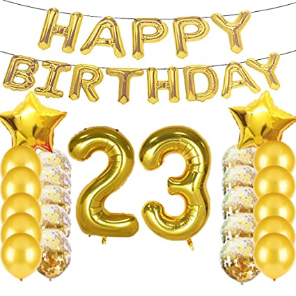 Sweet 23th Birthday Decorations Party SuppliesGold Number 23 Balloons23th Foil Mylar Balloons