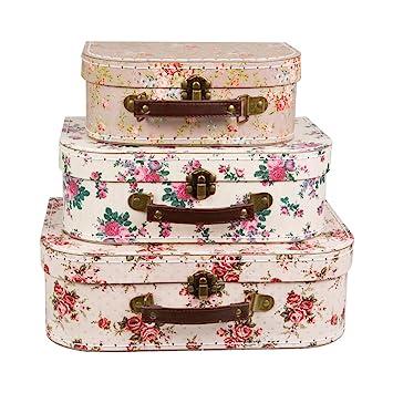 3 x flores Vintage en maletas - cajas de almacenamiento Shabby Chic: Amazon.es: Hogar