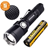 Tactical Flashlight Rechargeable with Power Indicator, 1380 Lumen, CREE XP-L, 5 Light Mode, IPX-8 Water-Resistant, 18650 Battery Included, For Camping, Hiking and Emergency