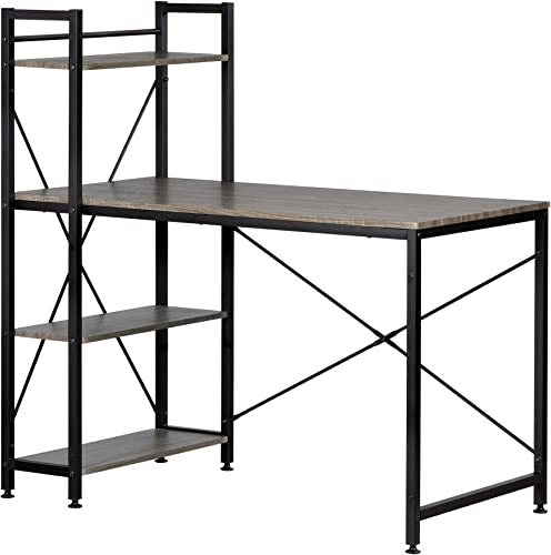 South Shore Evane Industrial Desk with Bookcase, Oak Camel