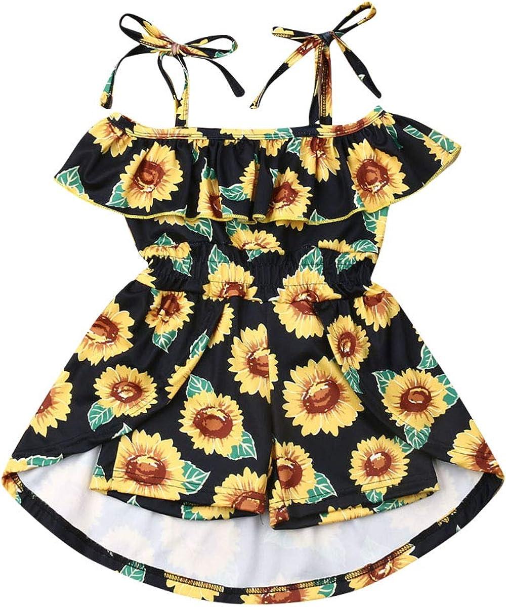 Toddler Kids Baby Girl Off Shoulder Dress Halter Dress Floral Ruffle Shorts Skirt Summer Clothes