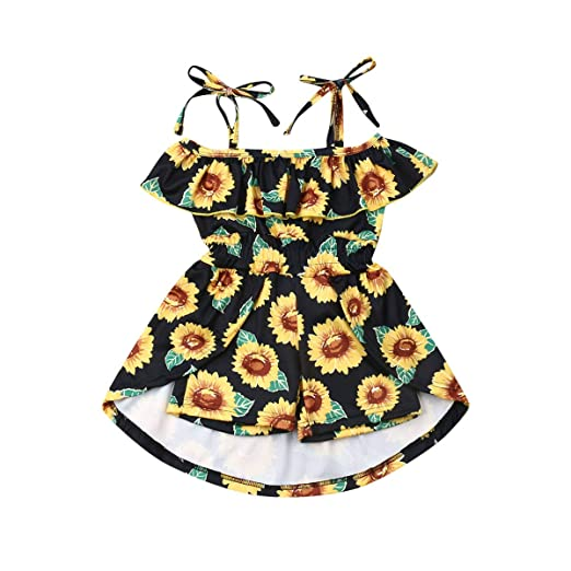 f01903cc4a38c Infant Baby Girls Halter Dress Toddler Hawaiian Summer Dress Ruffle Short  Skirt Floral Princess Sundress for Kids