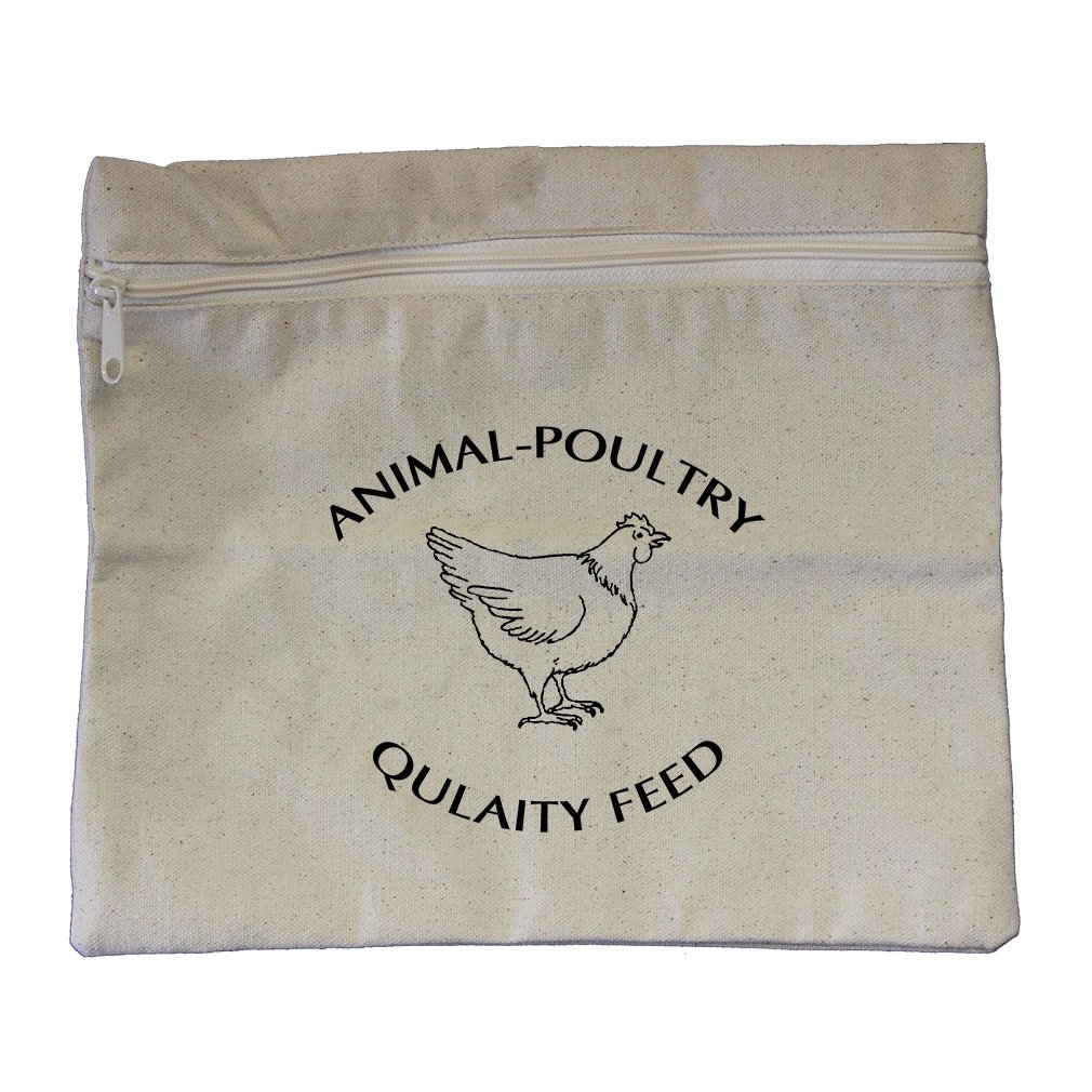Animal Poultry Quality Feed Canvas Zippered Pouch Makeup Bag