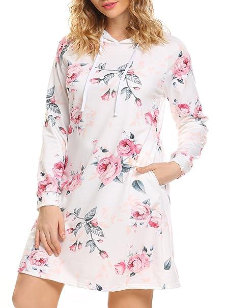 JQstar Women s Floral Long Sleeve Pullover Hoodie Sweatshirt Jumper Dress  With Pocket (S d00d27b4b