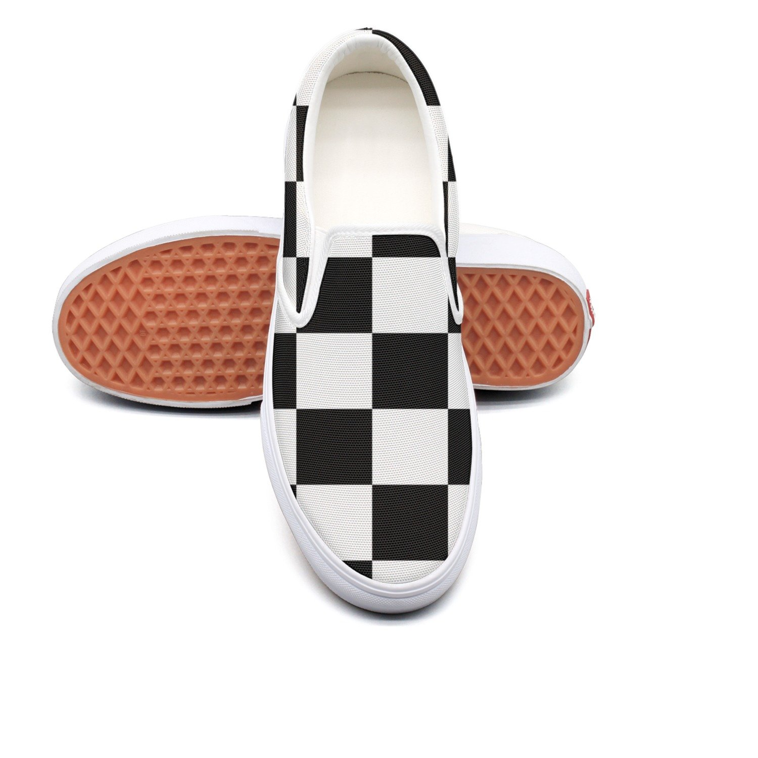 05d8cb988e2 Amazon.com  WhiteUnicorn Women s Checkered Flag Canvas Slip On Shoes Casual  Sneakers  Sports   Outdoors