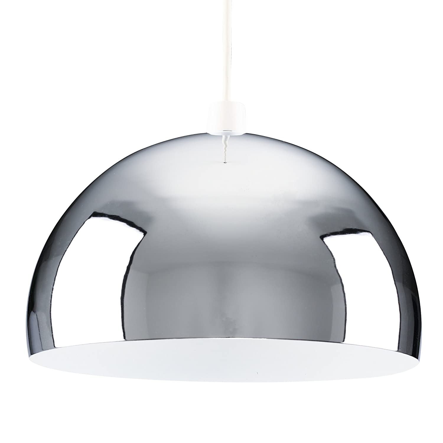 modern retro chrome dome ceiling pendant light shade amazon co uk
