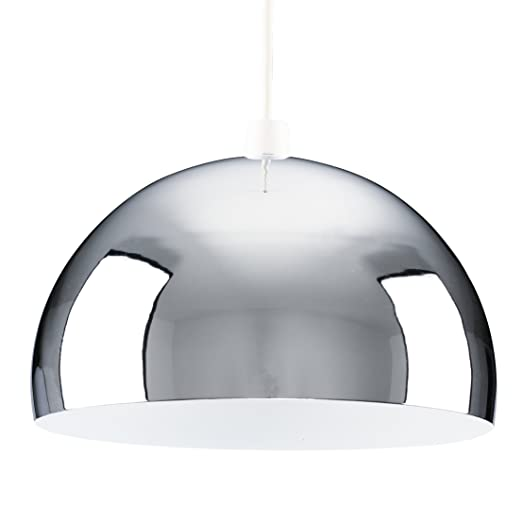 Modern retro chrome dome ceiling pendant light shade amazon modern retro chrome dome ceiling pendant light shade mozeypictures Image collections