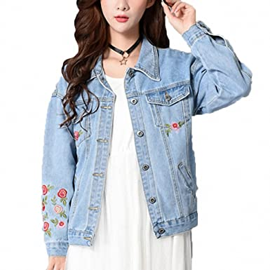 Womens Denim Jacket Embroidery Floral Loose Jeans Coat Long Sleeve Blue S