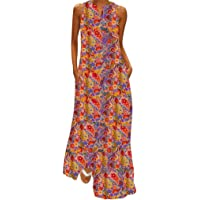 Vestidos Largos Verano Mujer ღSUNNSEANღ Traje de Vestir Estampado Floral Elegante Moda Casual Vestidos Boho Bohemia Vintage Transpirable Vestidos sin Mangas Chaleco Vestido de Playa Fiestas