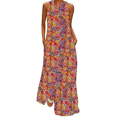 GNYD Vestidos Verano Mujer Playa Casual Bohemia Fiesta Grande ...