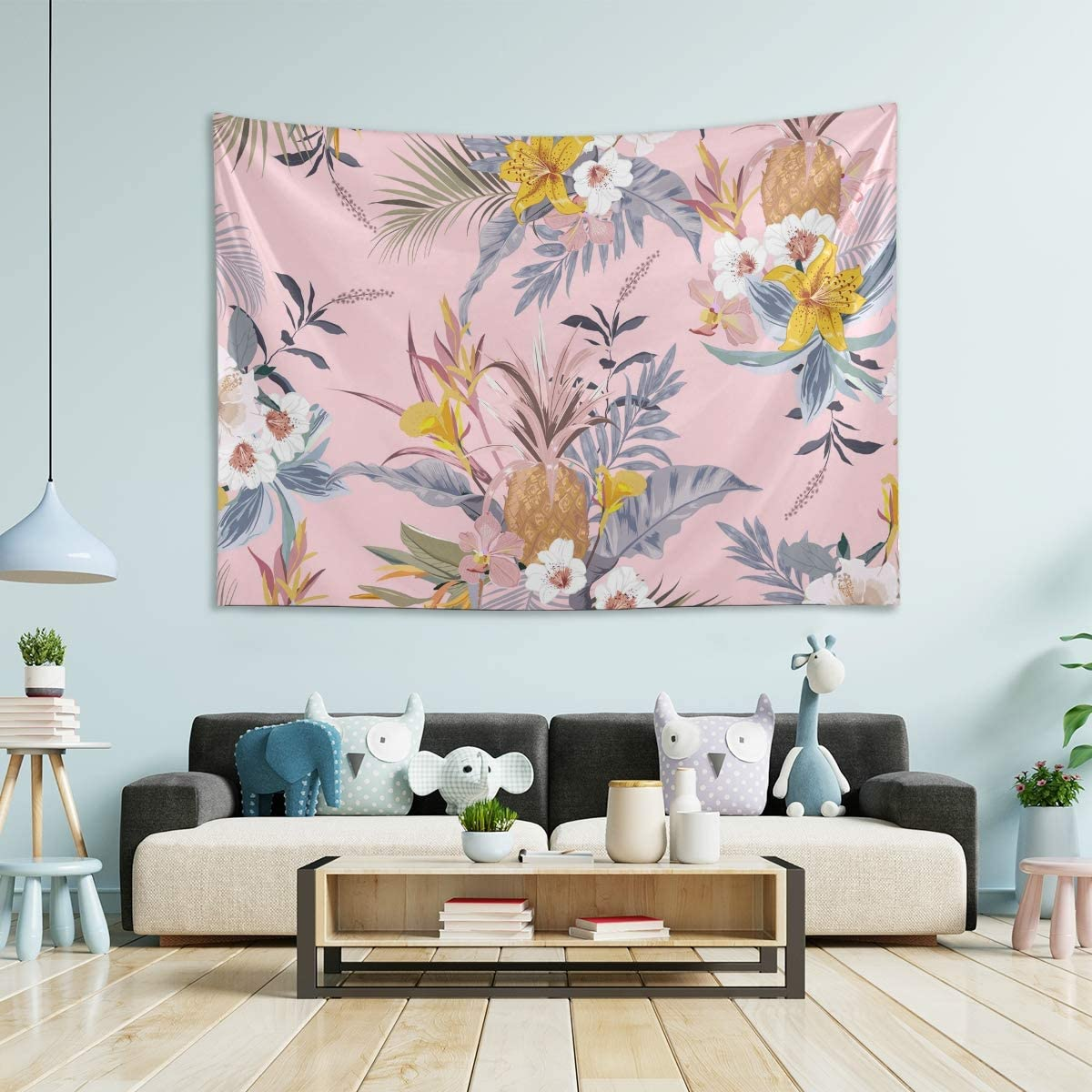 MCHIVER Tapestry Wall Hanging Room Decor - Vintage Tropical Pineapple Flowers Large Wall Tapestry for Bedroom Tapestry Trippy Bedroom Decoration 80x60 Inch