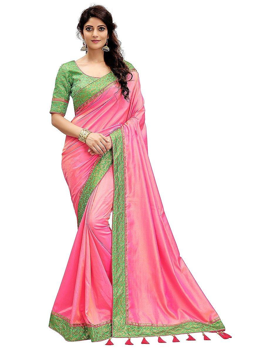Monjolika Fashion Women's Silk Saree With Blouse Piece (30693_Pink)
