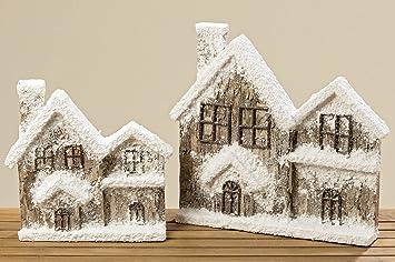 Haus Hauser Mit Schnee 35 Cm 1000675 Weihnachtsdeko Amazon De