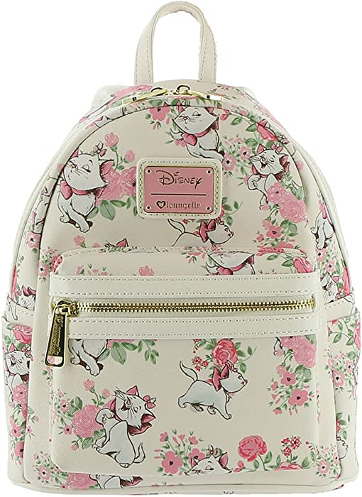 afbb5a46f44 Amazon.com  Loungefly x Disney The Aristocats Marie Floral Allover-Print Mini  Backpack  Clothing