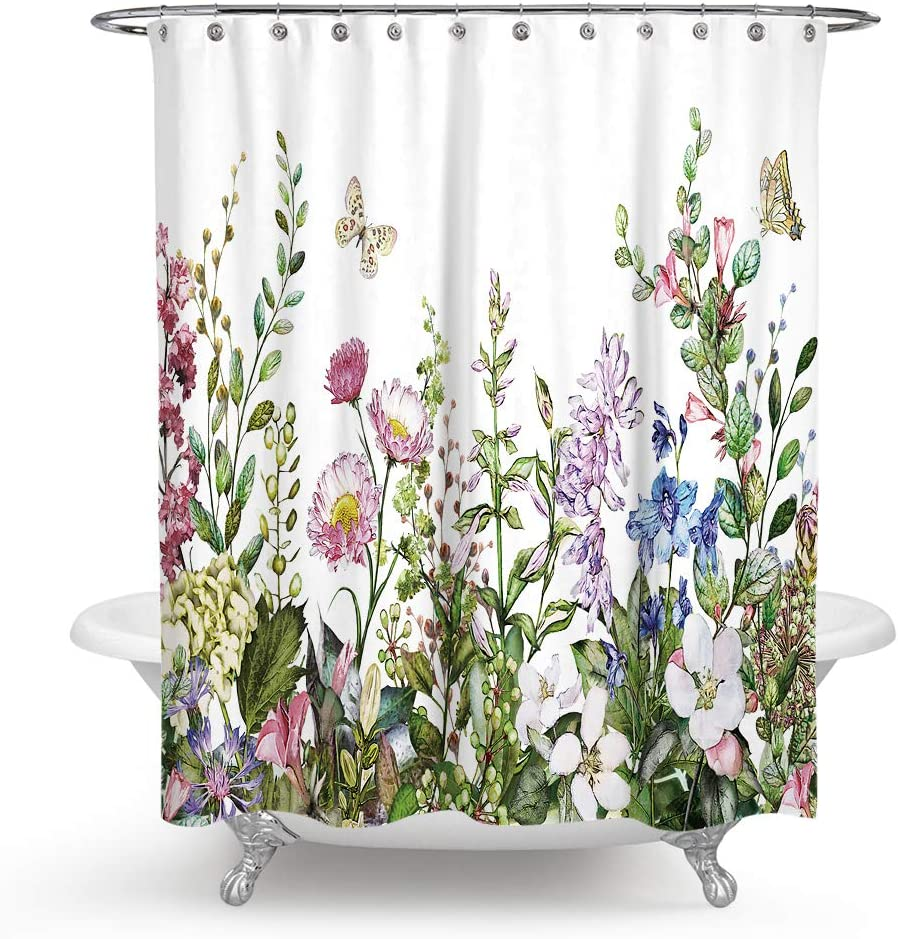 QCWN Fabric Floral Shower Curtain Flower Shower Curtain Watercolor Pink Floral Wildflowers Plants with Butterfly Spring Shower Curtain Boho Shower Curtains for Bathroom Decor with Hooks.59x70Inch