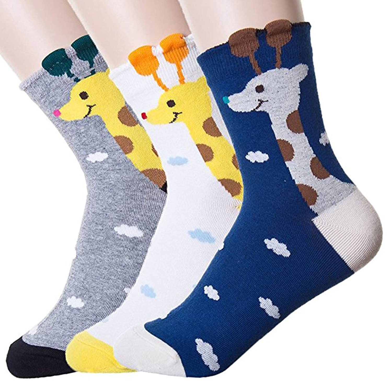 Women's Crew Socks 3-6 Pack by Ksocks, Fun Cool Cats Cartoon Sweet Animal
